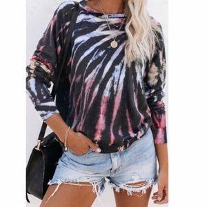 ONLY 1 LEFT!! multicolor swirl tie dye sweatshirt